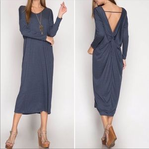 Dresses & Skirts - Navy Blue Long-sleeved Dress with Twist-tie Back